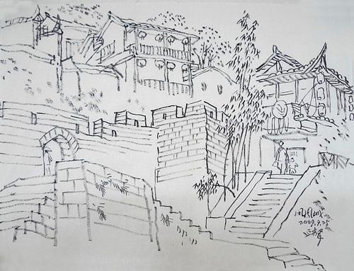 湘西苗寨风景速写